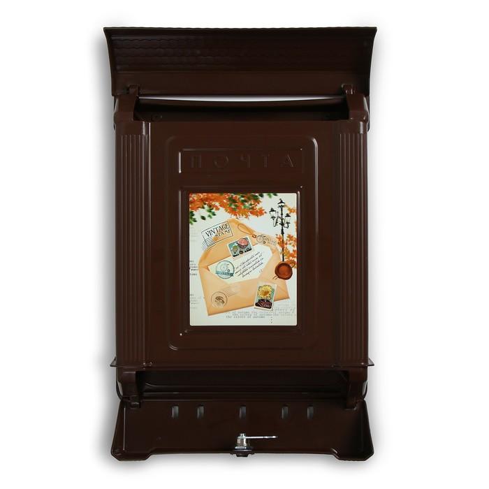 Ящик почтовый «Декор», вертикальный, с замком, коричневый