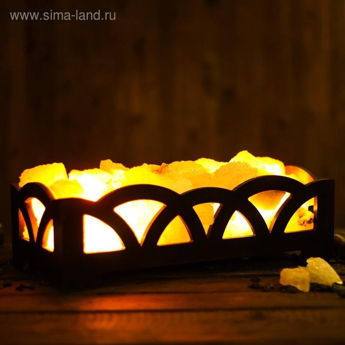 """Соляной светильник """"Камин"""", цветной, деревянный декор, 8 кг"""