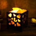 """Соляной светильник """"Корзина"""", сердечки, деревянный декор, 1,5 кг, микс"""