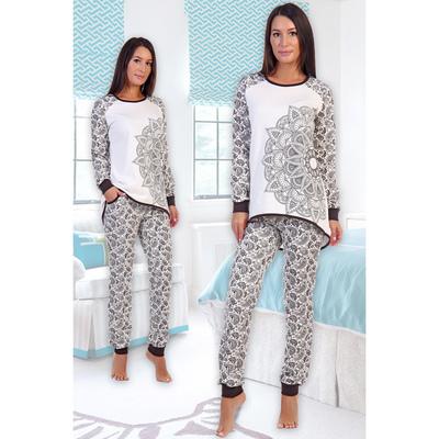 Пижама женская (джемпер, брюки) Медина цвет серый, р-р 48