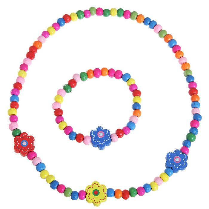 """Набор детский """"Выбражулька"""" 2 предмета: бусы, браслет, цветочки, цвет МИКС"""