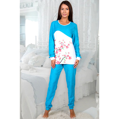 Пижама женская (джемпер, брюки) Юнона цвет бирюзовый, р-р 48