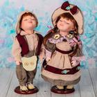 """Кукла коллекционная парочка поцелуй набор 2 шт """"Соломенные шляпки"""" 30 см"""