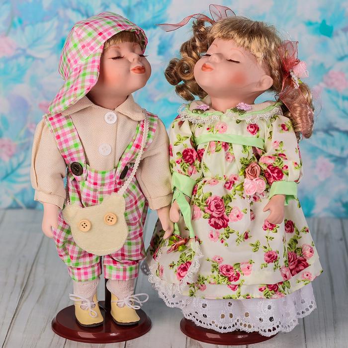 """Кукла коллекционная парочка поцелуй набор 2 шт """"Оксана и Миша"""" 30 см"""