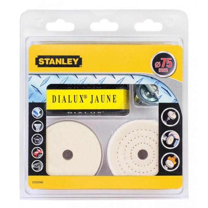 Набор Stanley, полировальный, по металлу и мрамору, 2 круга 75мм, держатели, паста