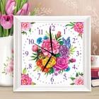 """Роспись часов по номерам """"Цветы"""", 30 х 30 см"""