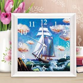 Картина по номерам - часы «Корабль», 30х30 см