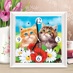 Картина по номерам - часы «Котята», 30х30 см