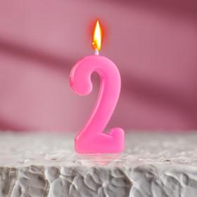 Свеча в торт цифра 2, розовый Ош