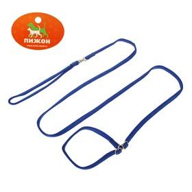Ринговка из нейлона с металлическими фиксаторами, общая длина 175 см, ширина 1 см, синяя