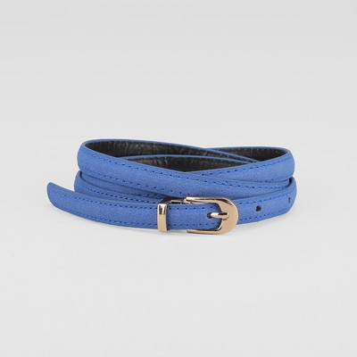 Waist belt for women, width 1 cm, screw, buckle the collar in gold, blue color