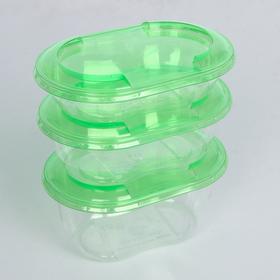 """Набор контейнеров """"Ассорти"""", 3 шт: 250, 375, 500 мл, зелёная крышка 14,1х9,2 см"""