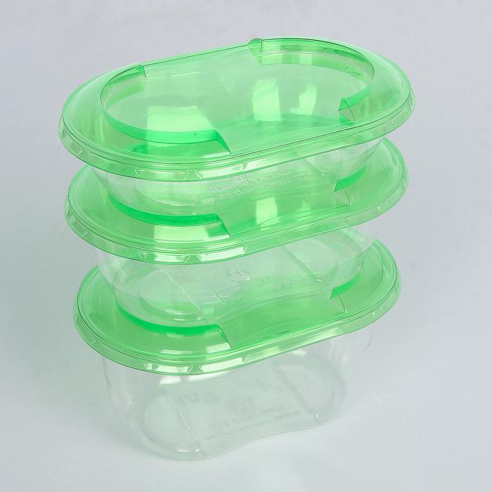 """Набор контейнеров """"Ассорти"""", 3 шт: 250, 375, 500 мл, зелёная крышка 14,1х9,2 см - фото 308009798"""