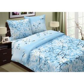 """Постельное бельё евро""""Pastel: Сакура"""", цвет голубой, 200х217, 220х240, 70х70см - 2 шт"""