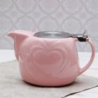 """Чайник заварочный 700 мл """"Сердца"""", с ситом, цвет розовый"""