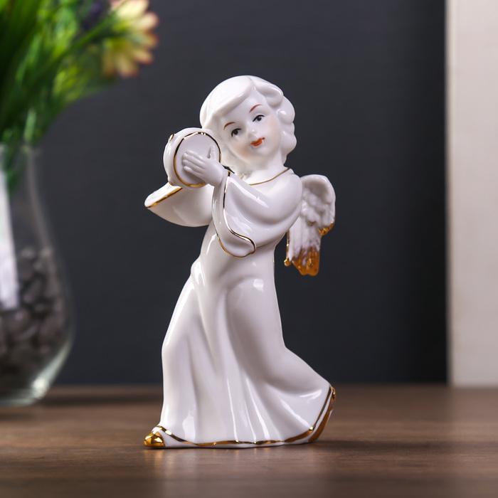 "Сувенир ""Ангел с бубном"" белый с золотом 15х9,5х9 см"