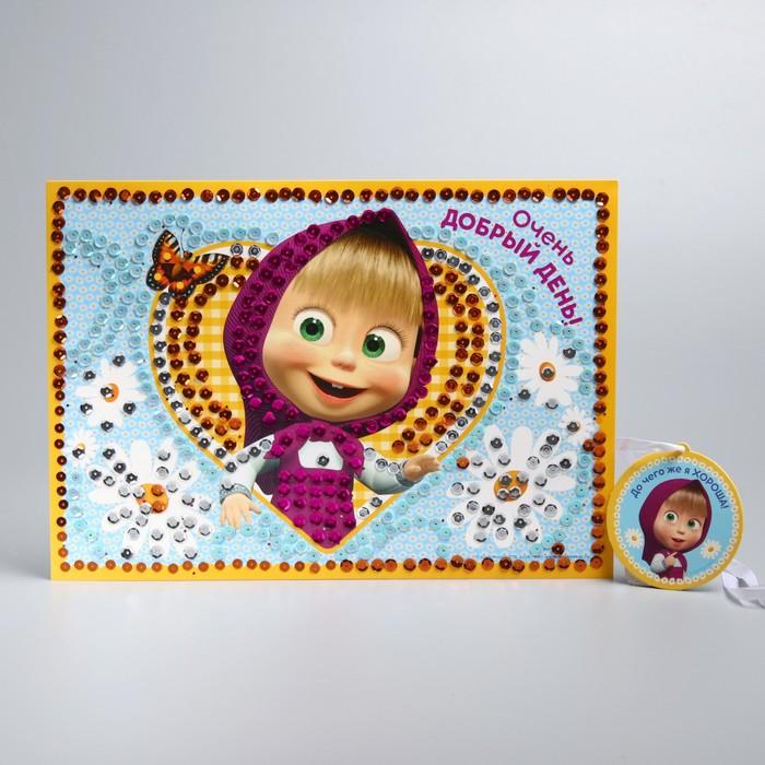 Аппликация пайетками ''Добрый день'' Маша и Медведь  с клеевым слоем + 4 цв пайеток   2303590