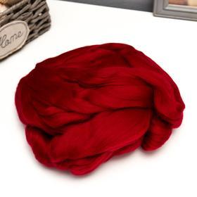 Гребенная лента 100% тонкая мериносовая шерсть 100гр (0025, вишня)