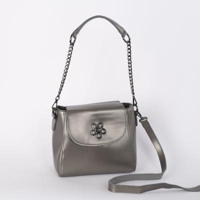Сумка женская, отдел с перегородкой на молнии, наружный карман, длинный ремень, цвет серебристый