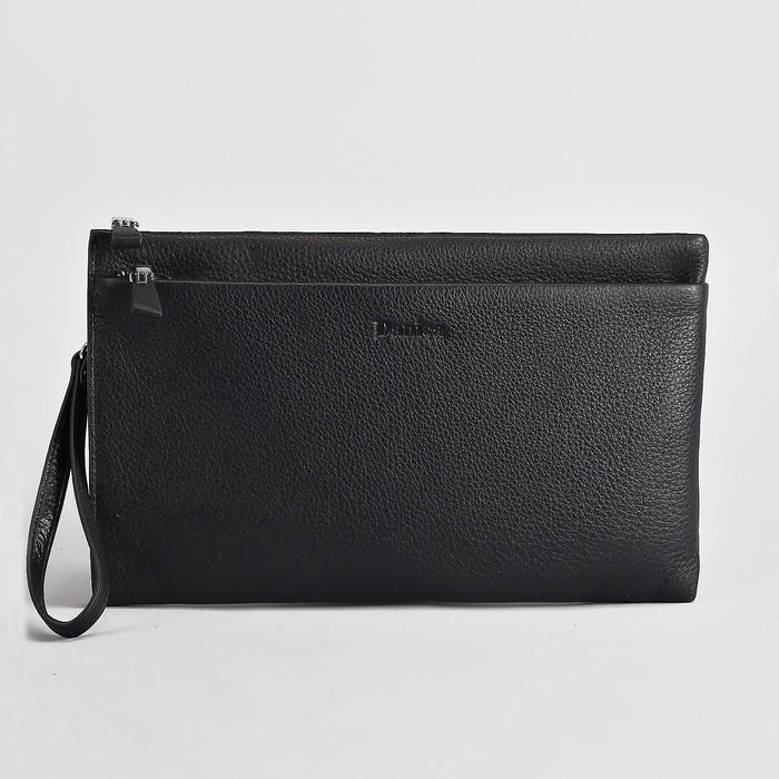 Клатч мужской, отдел на молнии, наружный карман, с ручкой, цвет чёрный