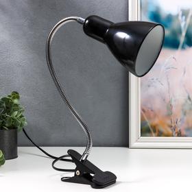 Настольная лампа 1x60W E27 черная (на прищепке) 10,5x10,5x54см