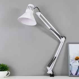 Настольная лампа 1x60W E27 белая (на струбцине) 17x17x81см