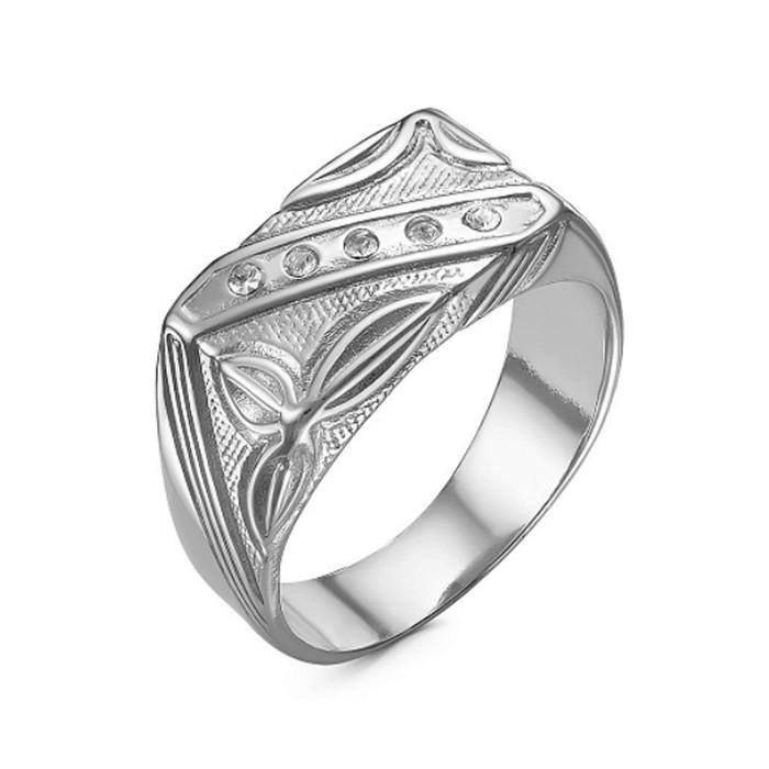 """Кольцо посеребрение с оксидированием """"Перстень"""" мужской с рельефным рисунком, 20,5 размер - фото 7472173"""