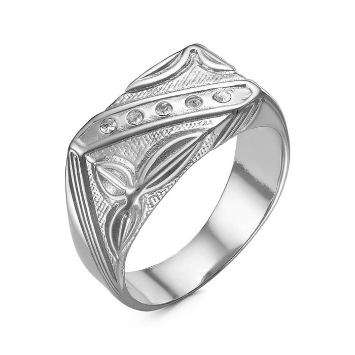 """Кольцо посеребрение с оксидированием """"Перстень"""" мужской с рельефным рисунком, 18,5 размер"""