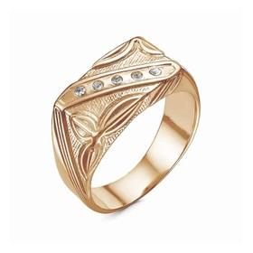 """Кольцо позолота """"Перстень"""" мужской с рельефным рисунком, 21 размер"""