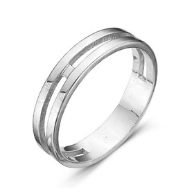 """Кольцо посеребрение с оксидированием """"Минимализм"""", 17,5 размер"""