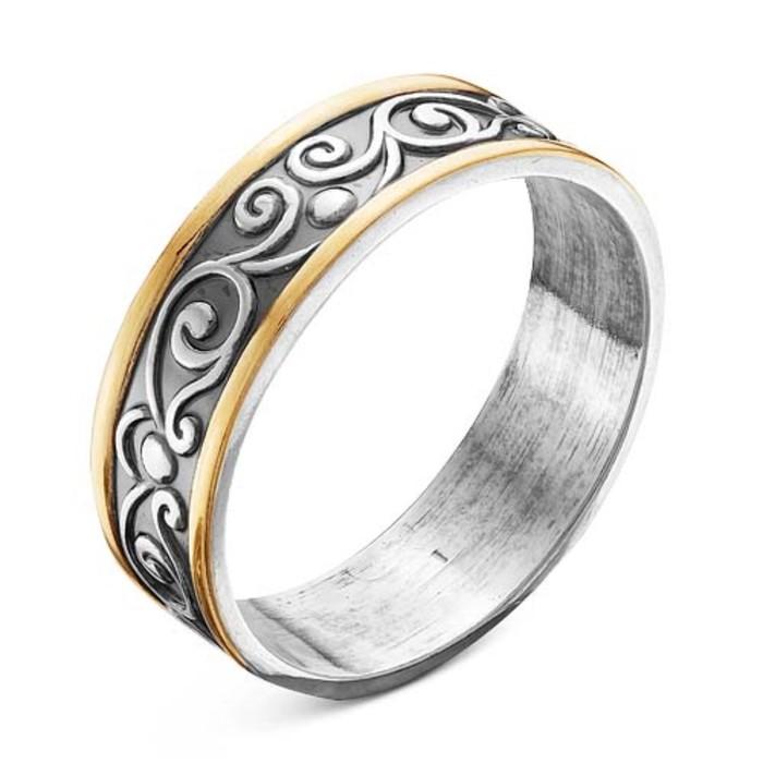 """Кольцо посеребрение с позолотой """"Вьюнок"""", 17,5 размер"""