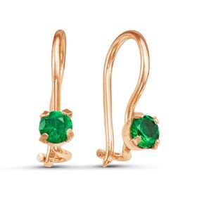 Серьги 'Крошка', цвет зелёный, позолота Ош