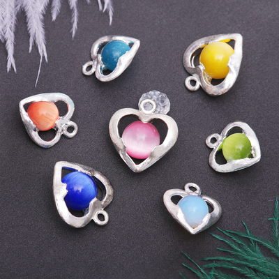 "Pendant ""Cat's eye"" ball in the heart, MIX color"