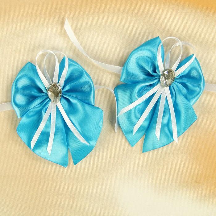 Бант-бабочка свадебный для декора атласный 2шт  голубой
