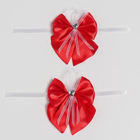 Bow tie for wedding decoration, satin, 2 PCs, red