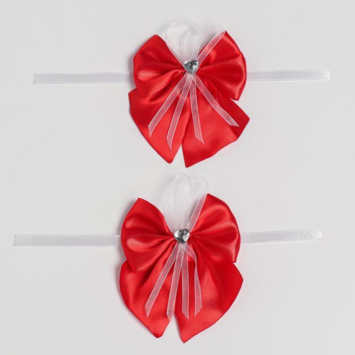 Бант-бабочка свадебный для декора атласный 2шт красный