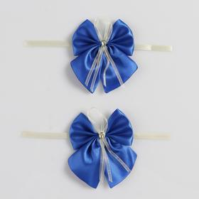 Bow tie for wedding decoration, satin, 2 piece, blue