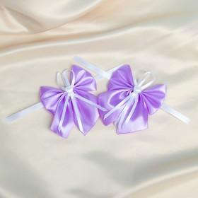 Bow tie for wedding decoration, satin, 2-piece, purple