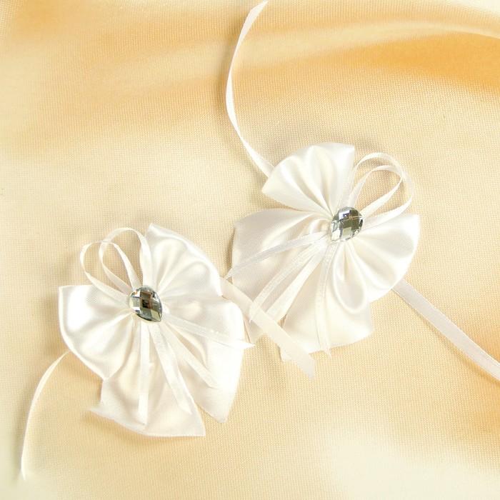 Бант-бабочка свадебный для декора атласный 2шт белый
