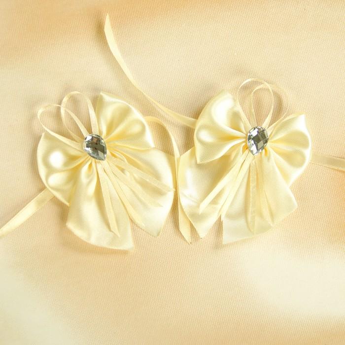 Бант-бабочка свадебный для декора атласный 2шт бежевый