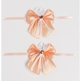 Бант-бабочка свадебный для декора, атласный, 2 шт, персиковый