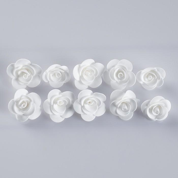 Бант-цветок свадебный для  декора  из фоамирана ручной работы диаметр 3 см 10 шт белый