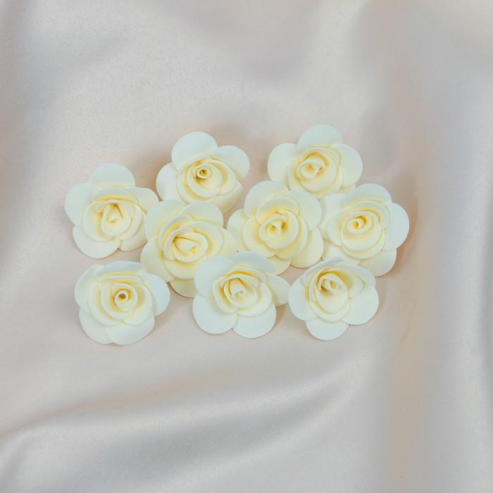 Бант-цветок свадебный для  декора  из фоамирана ручной работы диаметр 3 см 10 шт бежевый