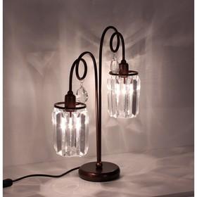 """Настольная лампа """"Синди"""" 2x60W E14 коричневый 31x12x43 см"""