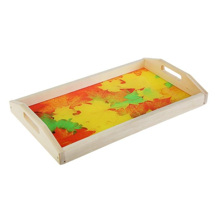 """Поднос для завтрака """"Кленовые листья"""", стеклянная поверхность, 50х7х29,5см"""