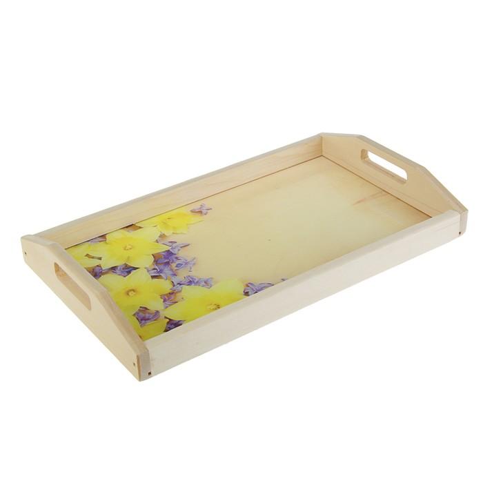 """Поднос для завтрака """"Нарциссы"""", стеклянная поверхность, 50х7х29,5см"""