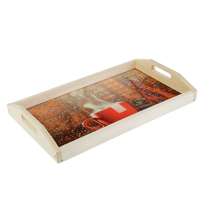 """Поднос для завтрака """"Уют"""", стеклянная поверхность, 50х7х29,5см"""
