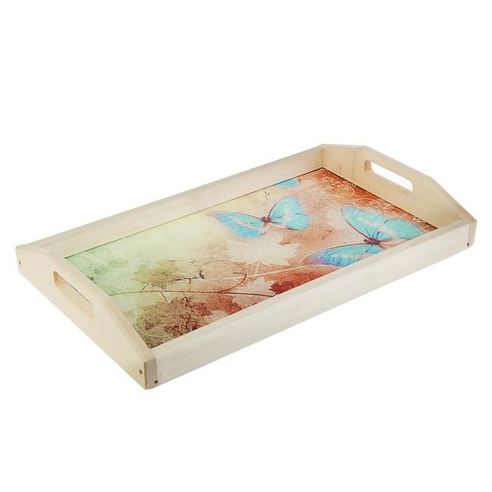 "Поднос для завтрака ""Бабочки"", стеклянная поверхность, 50х7х29,5см"