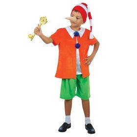 """Карнавальный костюм """"Буратино"""", плюш, куртка, шорты, колпак, нос, р-р 30, рост 110-116 см"""