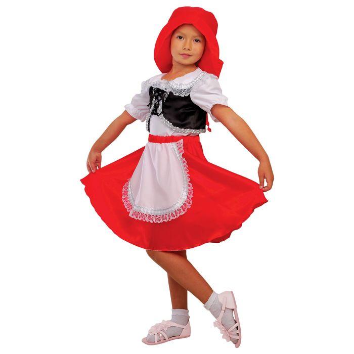 """Карнавальный костюм """"Красная Шапочка"""", блузка, юбка, шапка, р-р 28, рост 98-104 см"""